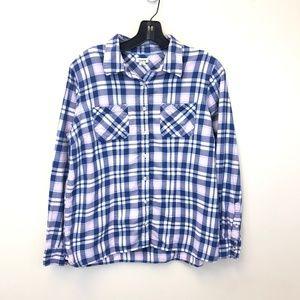 L. L. Bean Plaid Pink Blue Flannel Medium